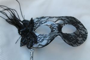 Silver Lace Mask - Mask on Stick | Masks and Tiaras